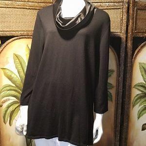 Chico's sweater w/silk cowl neck